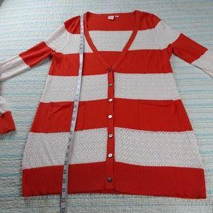 Anthropologie Sweaters - Anthropologie YELLOW BIRD L Orange Stripe Cardigan